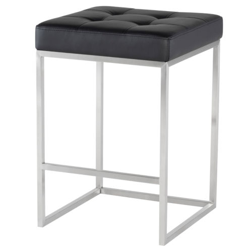 Chi Matte Black and Silver Counter Stool