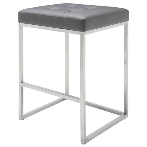 Chi Matte Gray and Silver Counter Stool