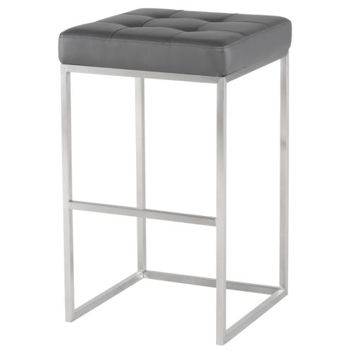 Chi Matte Gray and Silver Bar Stool