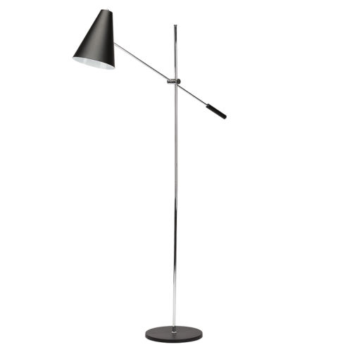 Tivat Matte Black and Silver One-Light Floor Lamp