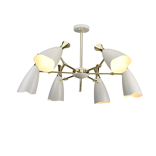 Cella Matte White and Gold Six-Light Chandelier