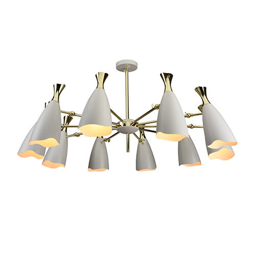Cella Matte White and Gold 10-Light Chandelier