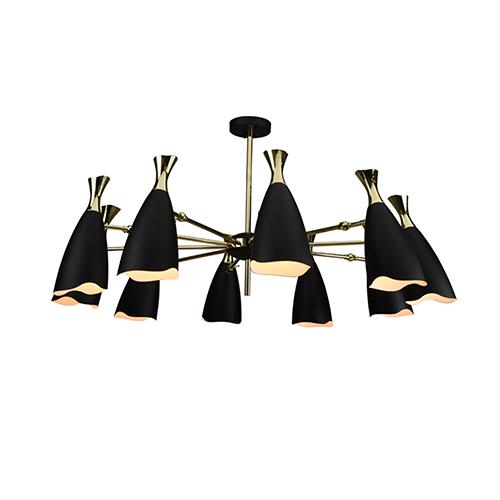 NUEVO Cella Matte Black and Gold 10-Light Chandelier