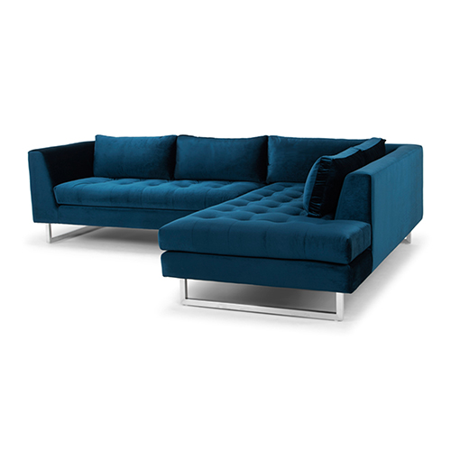 Janis Matte Midnight Blue Sectional With Right Facing Chaise