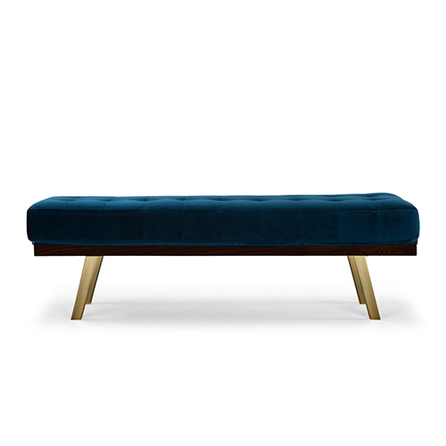 Rikard Matte Midnight Blue Occasional Bench