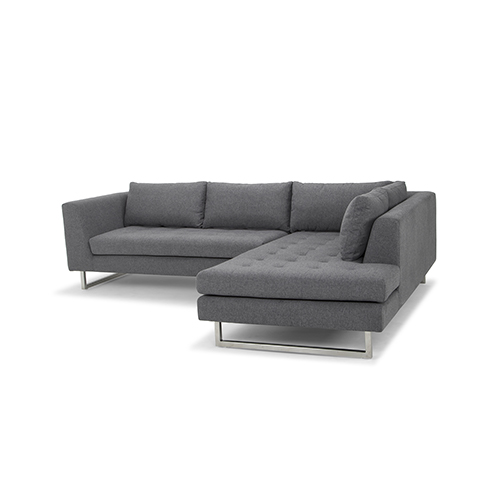 Janis Matte Shale Grey Sectional with Right Facing Chaise