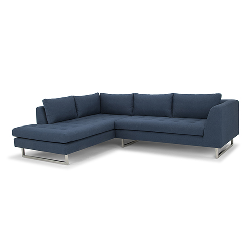 Janis Matte Lagoon Blue Sectional with Left Facing Chaise