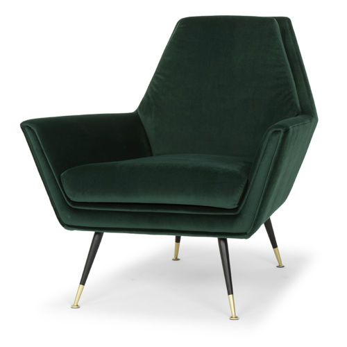 Vanessa Emerald Green and Black Occasional Chair
