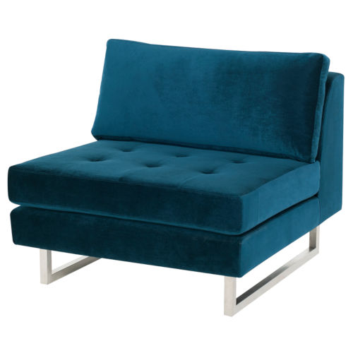 Janis Midnight Blue and Silver Sofa Extension