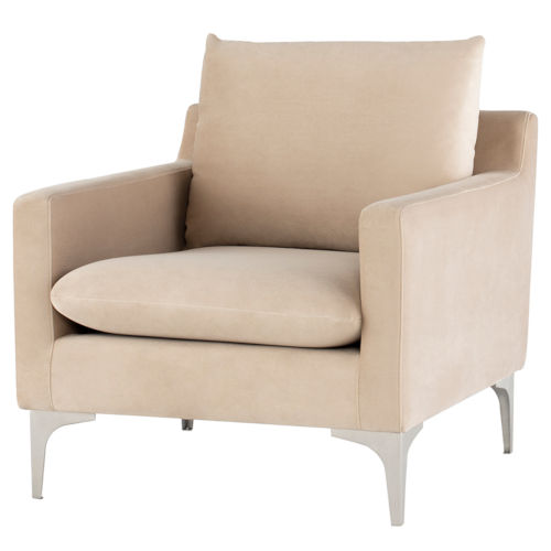 Anders Beige and Silver Occasional Chair