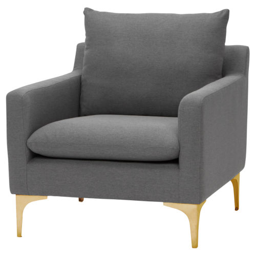 Anders Slate Gray and Gold Occasional Chair