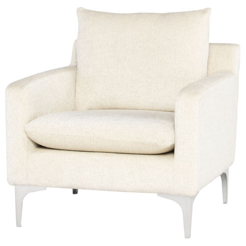 Anders Off White and Silver Occasional Chair