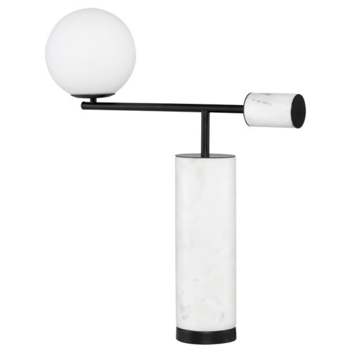 Justine White and Black Marble One-Light Table Lamp
