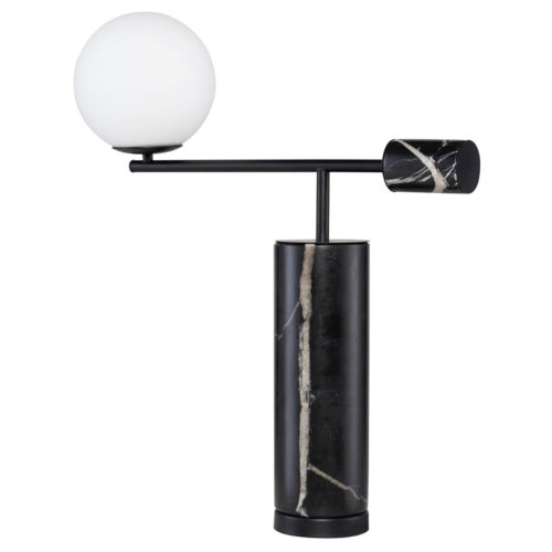 Justine Black and White Marble One-Light Table Lamp