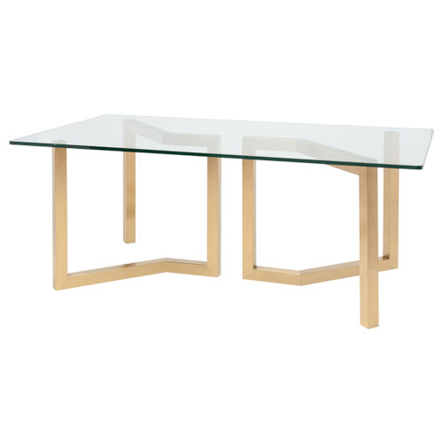 Paula Clear and Brushed Gold Dining Table