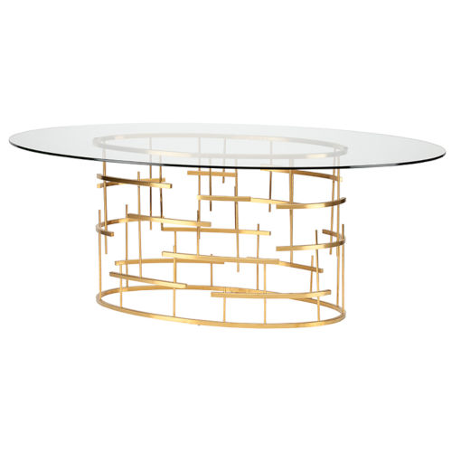 Tiffany Brushed Gold Oval Dining Table