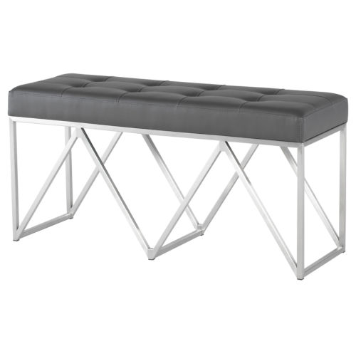 Celia Matte Gray and Silver Bench