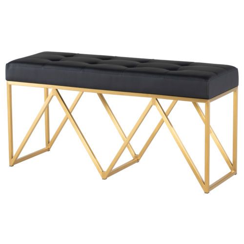 Celia Matte Black and Gold Bench