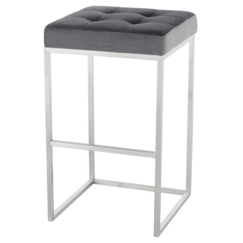 Chi Tarnished Silver and Stainless Steel Bar Stool