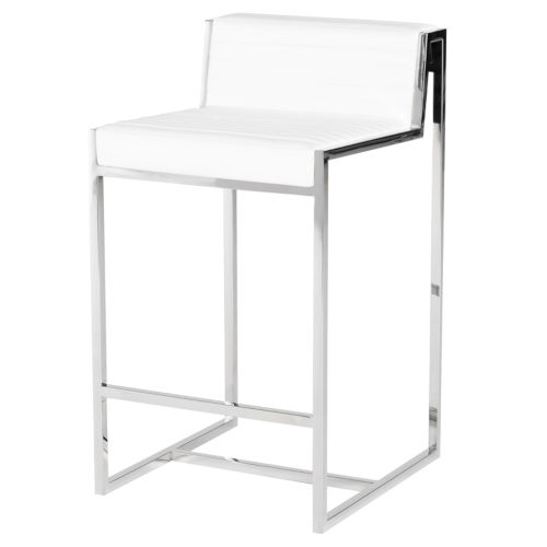 Zola White and Silver Counter Stool