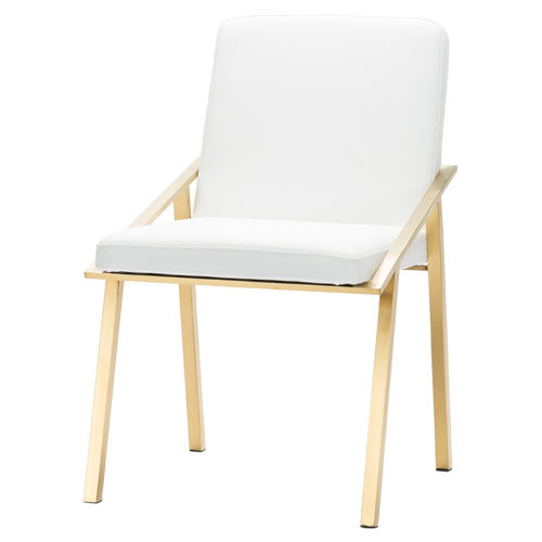 Nika White and Gold Dining Chair