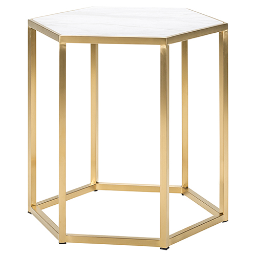 Nuevo Hexion Matte White And Gold Side Table