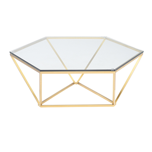 NUEVO Louisa Gold Coffee Table with Tempered Glass