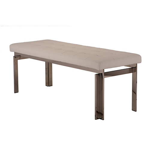 Vincent Matte White 47-Inch Occasional Bench