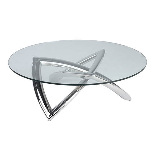Martina Silver Coffee Table with Tempered Glass