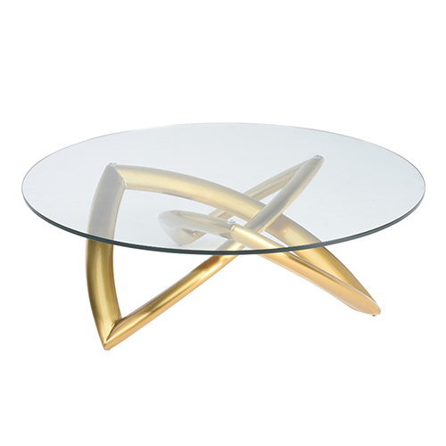Martina Gold Coffee Table with Tempered Glass