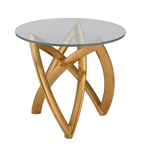 Martina Gold Side Table with Tempered Glass
