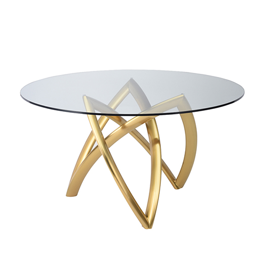 Martina Gold 53-Inch Dining Table with Tempered Glass