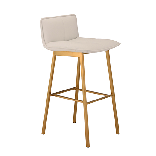 Sabrina Matte White and Gold Bar Stool