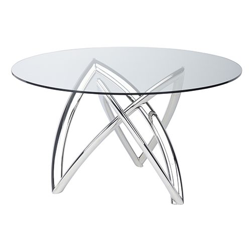 Martina Silver 60-Inch Dining Table with Tempered Glass