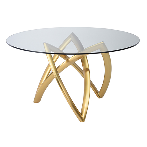 Martina Gold 60-Inch Dining Table with Tempered Glass