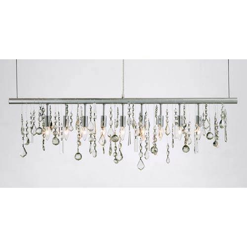 Crystal Chrome Nine-Light Pendant Lamp