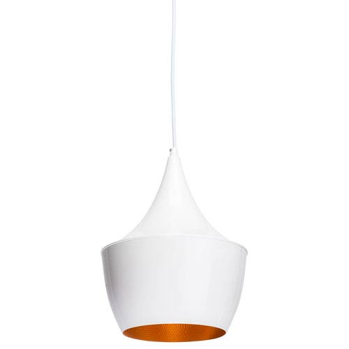 Karl White and Matte Gold 9.5-Inch One-Light Pendant