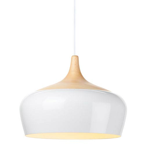 Liam White and Natural Ash 14-Inch One-Light Pendant