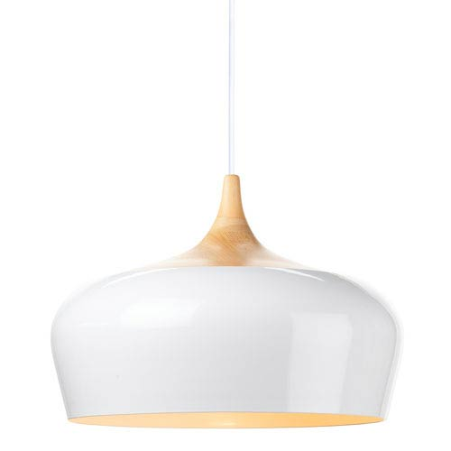 Liam White and Natural Ash 18-Inch One-Light Pendant