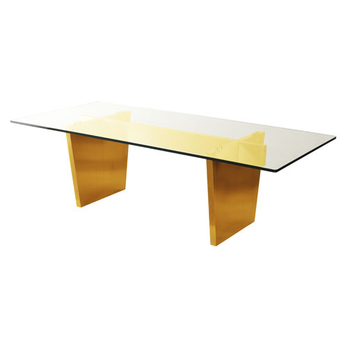Aiden Clear Top and Gold Dining Table