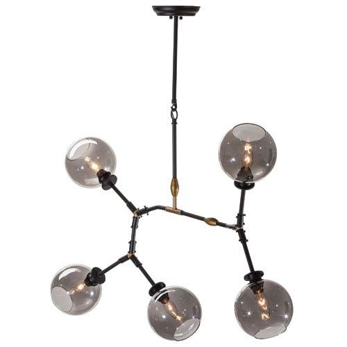 Atom Black Five-Light Pendant with Grey Glass