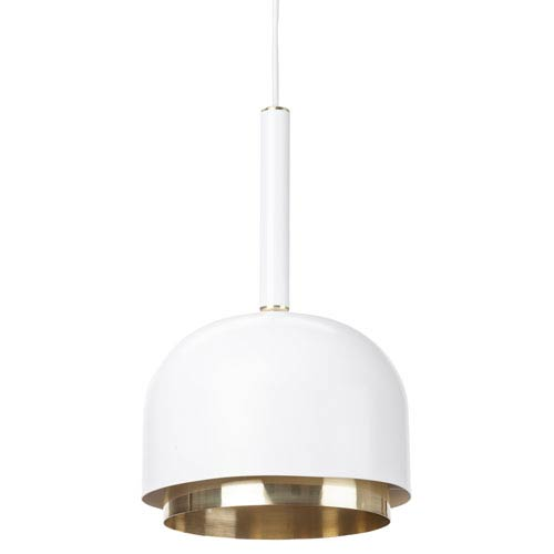 Dani White and Brushed Gold One-Light Pendant