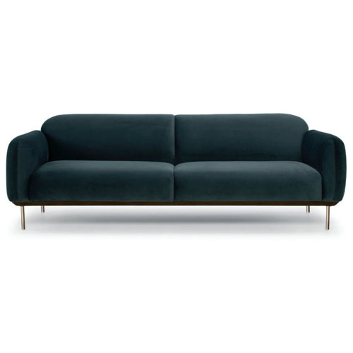 Benson Matte Hunter Green Tweed Triple Seat Sofa