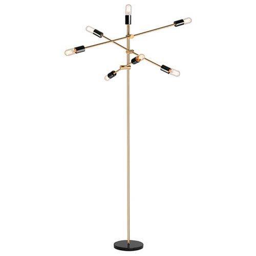 Byron Antique Brass Seven-Light Floor Lamp