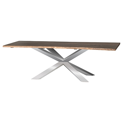 Couture Boule Seared 96-Inch Dining Table with Polished Stainless Steel Legs