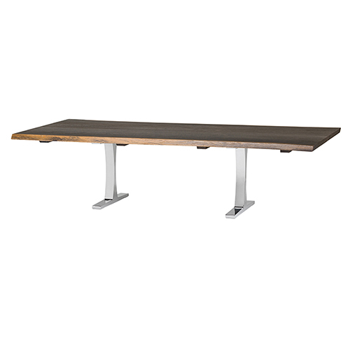 Toulouse Boule Seared 112-Inch Dining Table with Polished Stainless Steel Legs
