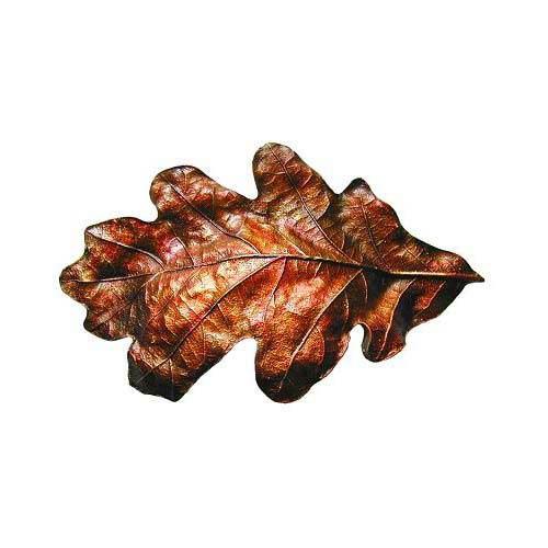 Hand Tinted Br Oak Leaf Bin Pull
