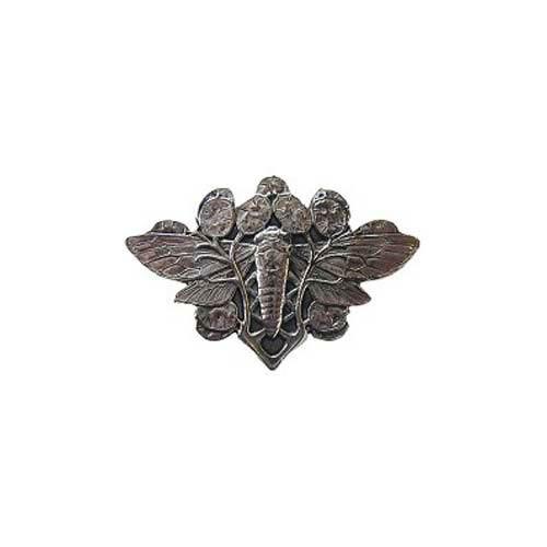 Brite Nickel Cicada on Leaves Knob