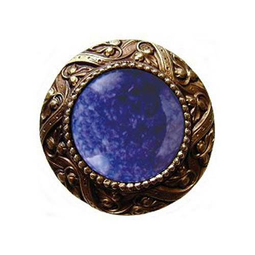 Brass Victorian Jeweled Knob with Blue Sodalite Stone