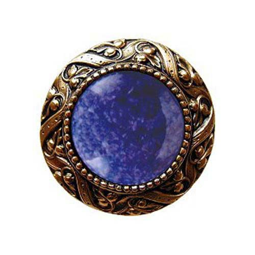 24 K Gold Plate  Victorian Jeweled Knob with Blue Sodalite Stone